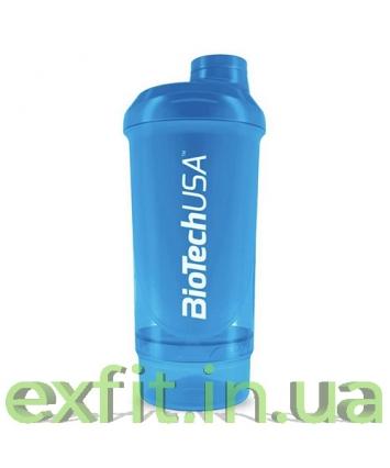 BioTech USA Шейкер Wave+Compact shaker 500 мл (+150 мл) голубой