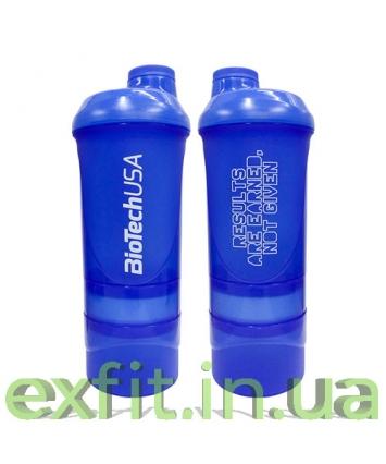 BioTech USA Шейкер Wave+600 мл (+250 мл+100 мл) тёмно-синий