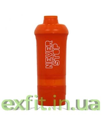 BioTech USA Шейкер Never Stop Wave+600 мл (+250 мл+100 мл) оранжевый