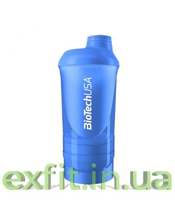 BioTech USA Шейкер Wave+500 мл (+250 мл+100 мл) голубой