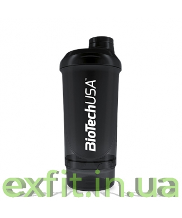 BioTech USA Шейкер Wave+Compact 500 мл (+150 мл) чёрный