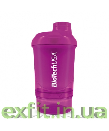 BioTech USA Шейкер Wave+Nano Shaker 300 мл (+150 мл) пурпурный