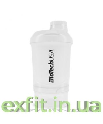 BioTech USA Шейкер Wave+Nano Shaker 300 мл (+150 мл) белый