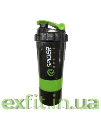 Spider Bottle Шейкер Mini 2Go (500 мл) чёрно-зелёный